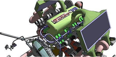 v8: V8 Engine. Colour vector illustration of a car engine.