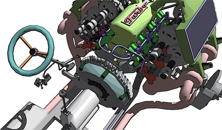 gearbox: The engine and gearbox. Transmission car. Platform machine assembly from the motor and gearbox. Illustration