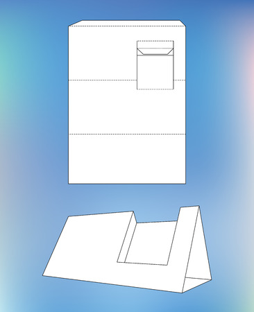 Business card display Box. Product Display Box with blueprint layout. Business card holder and die-cut pattern Vector