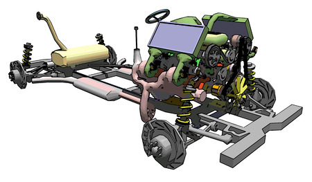 Plan of car chassis showing wheels, transmission engine and suspension. EPS10. Vector