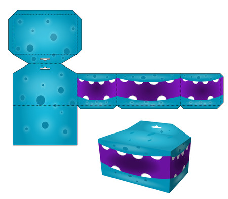 Die paper boxes templates with cartoon monsters. Paper cube for children games and decoration. Papercraft in vector. Vector