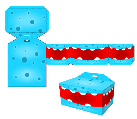 Die paper boxes templates with cartoon monsters. Paper cube for children games and decoration. Papercraft in vector.