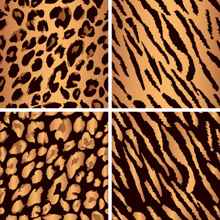 Set leopard print pattern. Set tiger print pattern. Set a jaguar print pattern. Set texture yellow-orange, bronze color.