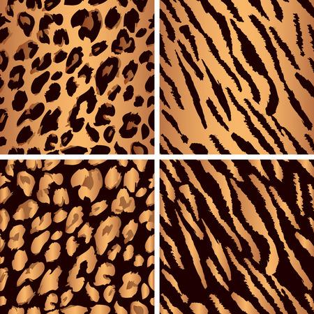 Set leopard print pattern. Set tiger print pattern. Set a jaguar print pattern. Set texture yellow-orange, bronze color.