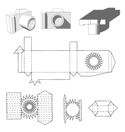cut: Camera paper. Cutting out the camera ready for printing. Paper Cuttings camera for your design or hobby. Papercraft in vector. Die cut Layout.