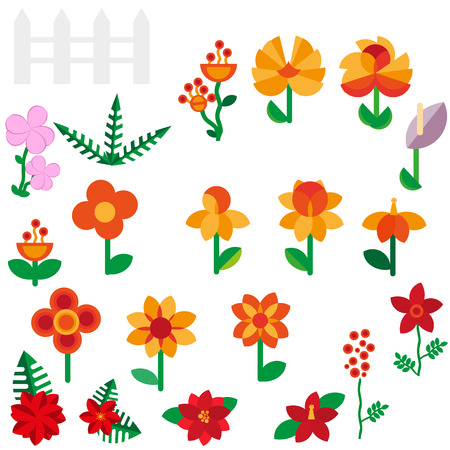 Flower set in a flat style Flower set. Spring flowers. Vector flat illustration eps 10 Vector