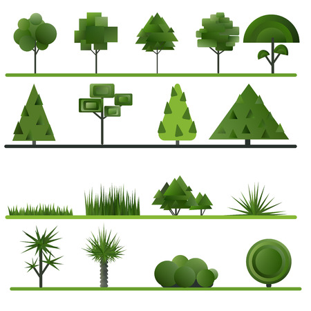 shrubs: Set of abstract trees, shrubs, grass on a white background. Vector illustration.