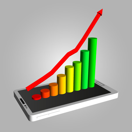 Infographics showing growth in sales of smartphones. The increase in profits. Schedule to increase profits.