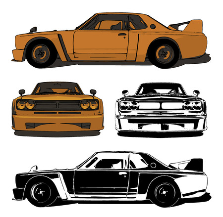Race car. Color and black-and-white illustration. Sleek style graphics. Illustration