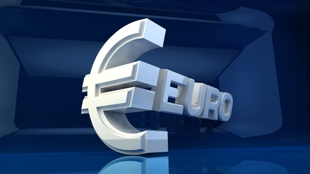 reflecting: Three-dimensional white sign on the Euro reflecting blue background.