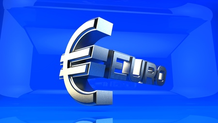 metal sign: Three-dimensional metal sign on the Euro reflecting blue background.