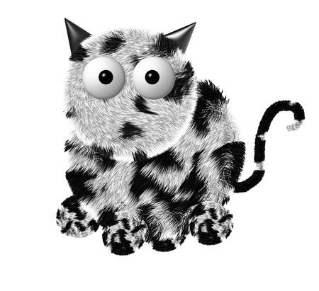 purring: Illustration of fluffy gray Cat.