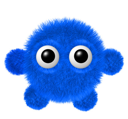 Fluffy character with big eyes. Little blue furry monster with arms and legs.