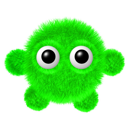 furry: Fluffy character with big eyes. Little green furry monster with arms and legs. Stock Photo