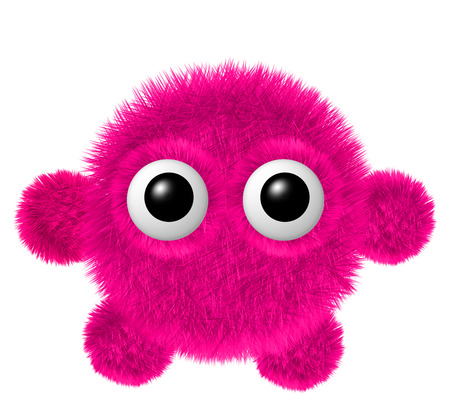 Fluffy character with big eyes. Little coral furry monster with arms and legs.