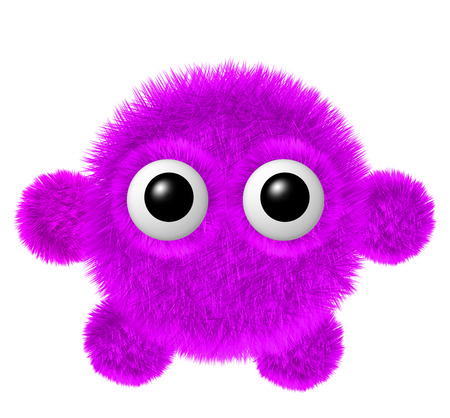 furry: Fluffy character with big eyes. Little magenta furry monster with arms and legs. Stock Photo