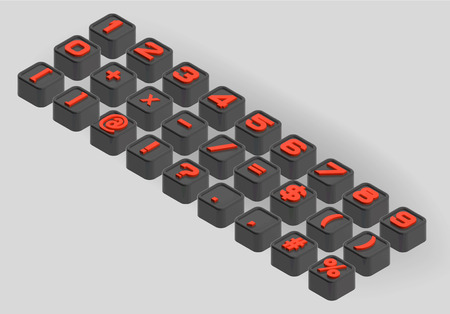 smoothed: The three-dimensional axonometric set of numbers and symbols in black and red. Small smoothed cubes letters Illustration