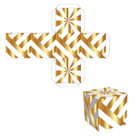 unwrapped: Packing box for your business. Gold box with Die cut Pattern Illustration