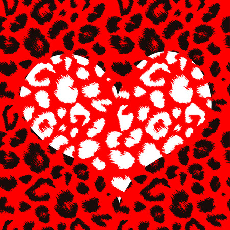 animal hair: Heart with leopard print texture pattern. Vector background Illustration