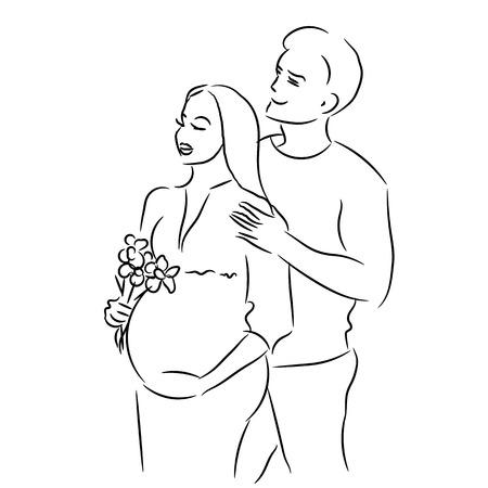 awaiting: joven familia est�n a la espera para el s�mbolo del parto