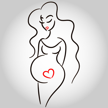 young pregnant woman. Symbol, stylized vector sketch