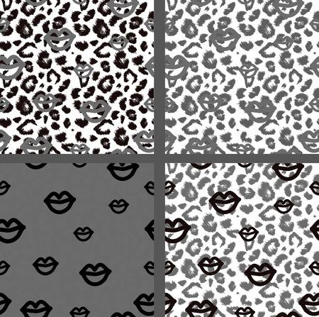 jaguar: Set leopard print pattern. Set tiger print pattern. Set jaguar print textures