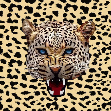 Leopard print pattern. Repeating seamless vector animal background