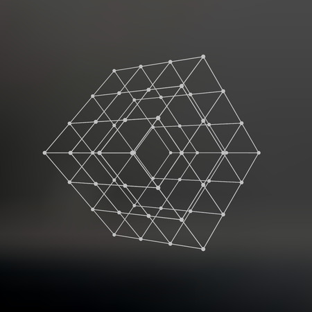grid: Cube of lines and dots. Cube of the lines connected to points. Molecular lattice. The structural grid of polygons. Black background. The facility is located on a black studio background Illustration