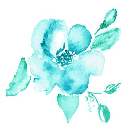gently blue: Vector floral background. Watercolor floral illustration. Flower decorative element Illustration
