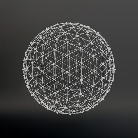 Ámbito de líneas y puntos. Bola de las líneas conectadas a puntos. Celosía Molecular. La rejilla estructural de polígonos. Fondo negro. La instalación está ubicada en un fondo negro del estudio Ilustración de vector