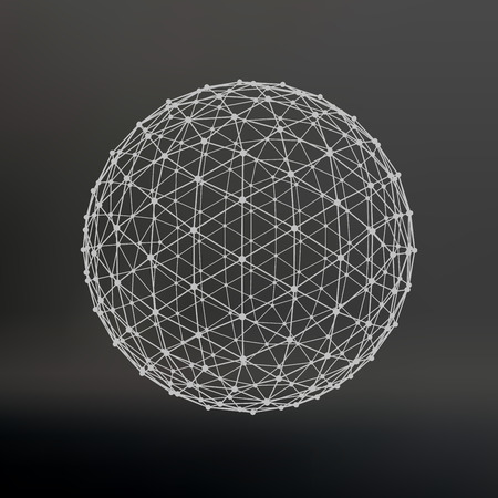Scope of lines and dots. Ball of the lines connected to points. Molecular lattice. The structural grid of polygons. Black background. The facility is located on a black studio background