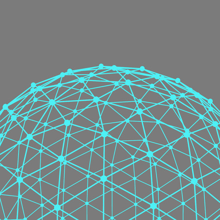 Scope: Mesh polygonal background. Scope of lines and dots. Ball of the lines connected to points. Molecular lattice. The structural grid of polygons