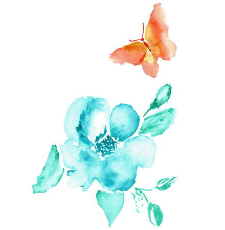 Butterfly and flower watercolor drawing. Vector art isolated on white