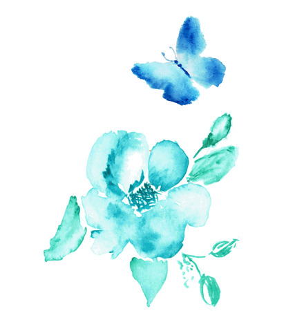 butterfly isolated: Butterfly and flower watercolor drawing. Vector art isolated on white