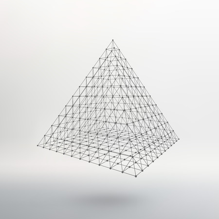 constructive: Polygonal pyramid. Pyramid of the lines connected points. Atomic lattice. Driving a constructive solution of the pyramid. Vector Illustration EPS10. Illustration