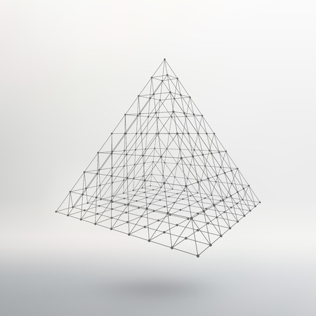 constructive: Polygonal pyramid. Pyramid of the lines connected points. Atomic lattice. Driving a constructive solution of the pyramid. Vector Illustration.