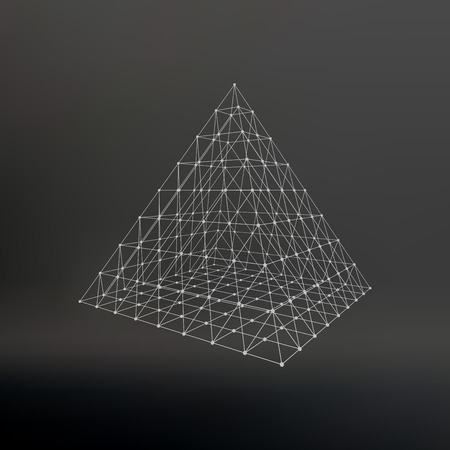 constructive: Polygonal pyramid. Pyramid of the lines connected points. Atomic lattice. Driving a constructive solution of the pyramid. Vector Illustration . Illustration