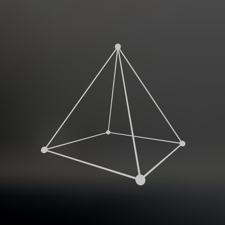 Polygonal pyramid. Pyramid of the lines connected points. Atomic lattice. Driving a constructive solution of the pyramid. Vector Illustration =. Ilustracja