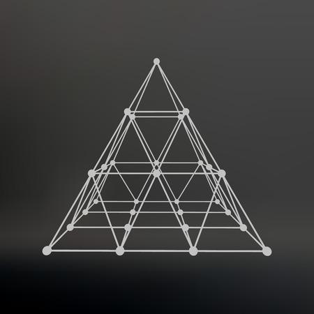 Polygonalen Pyramide. Pyramide Von Den Leitungen Punkten. Atomgitter ...