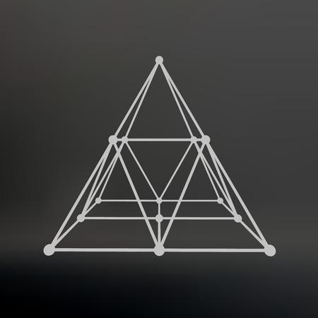 多角形のピラミッド。ピラミッド ラインの接続ポイントです。原子の格子。ピラミッドの建設的な解決策を推進しています。ベクトル図 EPS10。