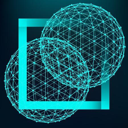 多角形の背景をメッシュします。線分と点の範囲。ラインのボール ポイントに接続します。分子の格子。多角形の構造のグリッド