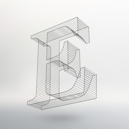 Vector illustration of letter L on white background. Fonts of Mesh polygonal. Wire frame contour alphabets. Stock fotó - 42830654