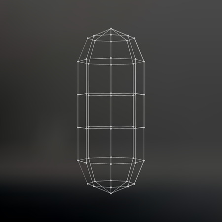 constructive: Polygonal capsule. The capsule of the lines connected dots. Atomic lattice. Driving constructive solution tank. Black gradient background