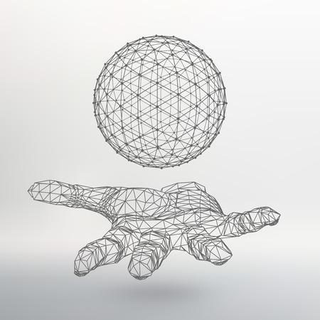 腕にボール。手球。多角形のボール。多角形の手。  イラスト・ベクター素材