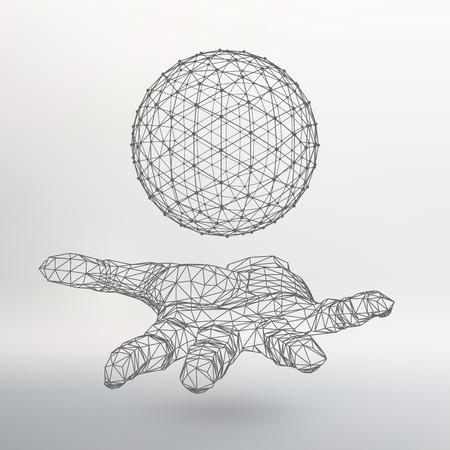 Ball on the arm. The hand holding a sphere. Polygon ball. Polygonal hand.