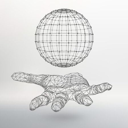 palm of hand: Ball on the arm. The hand holding a sphere. Polygon ball. Polygonal hand.