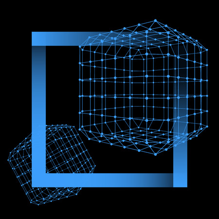 Mesh polygonal background. Scope of lines and dots. Ball of the lines connected to points. Molecular lattice. The structural grid of polygons