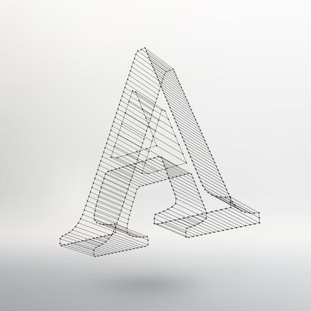 白い背景の文字 L のベクター イラストです。メッシュは、多角形のフォント。ワイヤー フレーム等高線アルファベット。  イラスト・ベクター素材