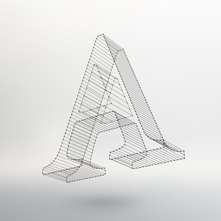 Vector illustration of letter L on white background. Fonts of Mesh polygonal. Wire frame contour alphabets.