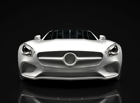 front bumper: Sports car front view. The image of a sports white car on a black background
